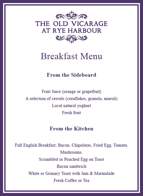 Old Vicarage at Rye Harbour Breakfast Menu